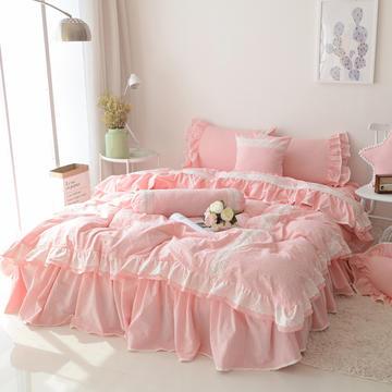 韩式水洗棉四件套(蓝灰情调)床裙款 爱心枕(含芯可拆卸) 粉色