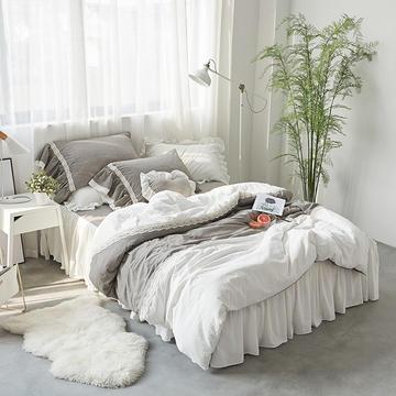 全棉色织水洗棉四件套-摩卡 小号1.2m床裙款 摩卡 咖