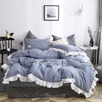 2019新款气质条纹四件套版本二 蝴蝶结抱枕中号 气质条纹 牛仔蓝