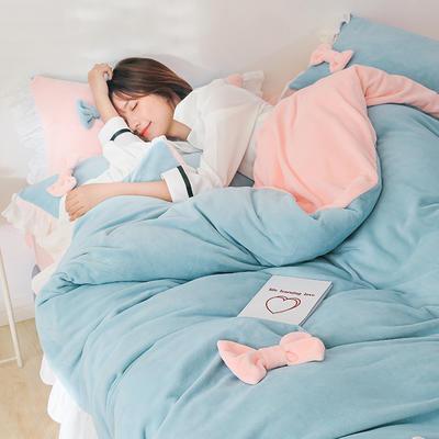 2019新款牛奶绒少女心 蝴蝶结四件套 1.2m床单款三件套 粉色