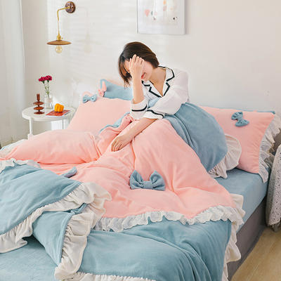 2019新款牛奶绒少女心 蝴蝶结四件套 1.2m床单款三件套 蓝色