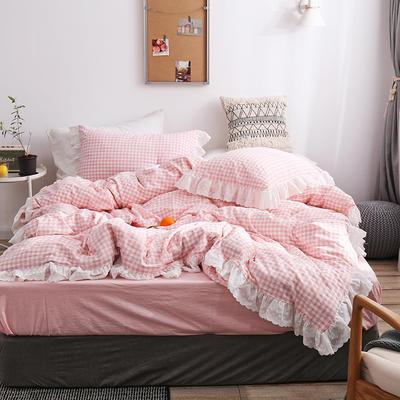 2020新款全棉刺绣花边小格子四件套 1.2m床单款三件套 粉色小格子