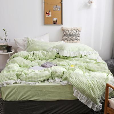 2020新款全棉刺绣花边小格子四件套 1.2m床单款三件套 绿色小格子