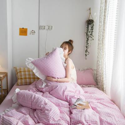 2020新款全棉刺绣花边小格子四件套 1.2m床单款三件套 紫色小格