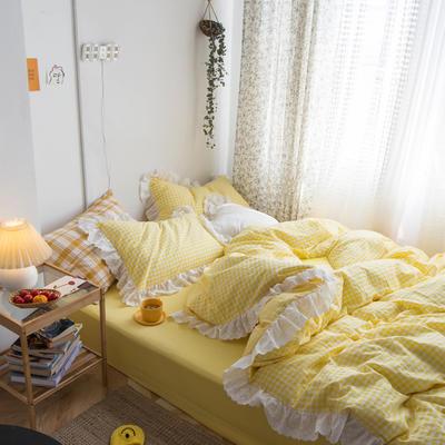 2020新款全棉刺绣花边小格子四件套 1.2m床单款三件套 黄色小格