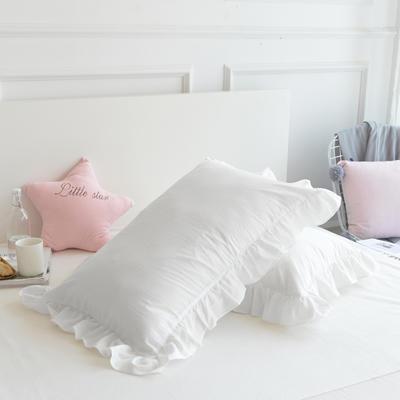 2020新款色織全棉水洗棉荷葉邊枕套 48cmX74cm/只 本白色