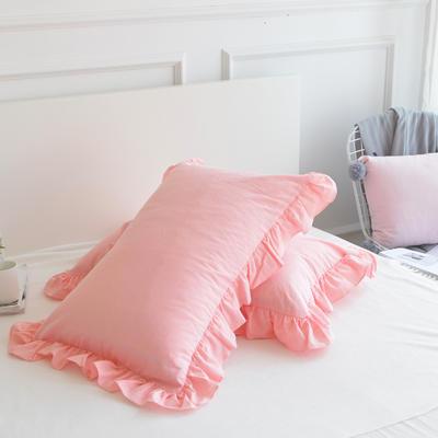 2020新款色織全棉水洗棉荷葉邊枕套 48cmX74cm/只 粉色