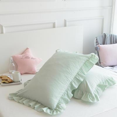 2020新款色織全棉水洗棉荷葉邊枕套 48cmX74cm/只 綠色