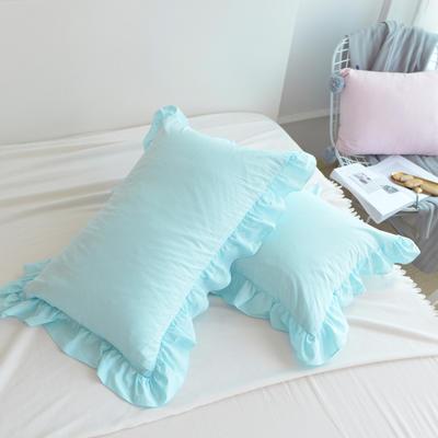 2020新款色織全棉水洗棉荷葉邊枕套 48cmX74cm/只 天空藍
