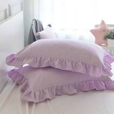 2020新款色織全棉水洗棉荷葉邊枕套 48cmX74cm/只 香芋紫