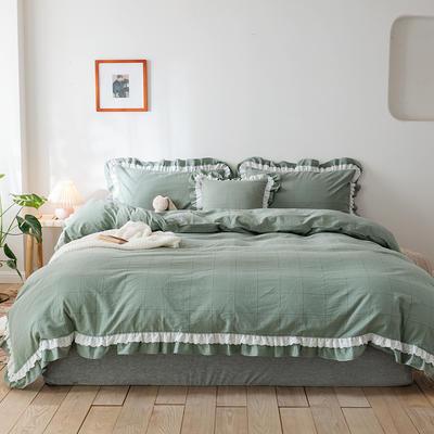2020新款全棉色織大格水洗棉四件套 1.5m床單款四件套 色織大格 豆綠色