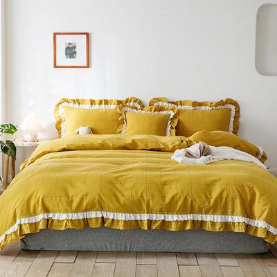 2020新款全棉色織大格水洗棉四件套 1.5m床單款四件套 色織大格 姜黃色