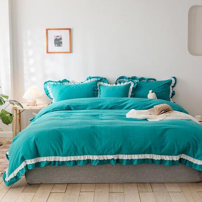 2020新款全棉色織大格水洗棉四件套 1.5m床單款四件套 色織大格 藍綠色