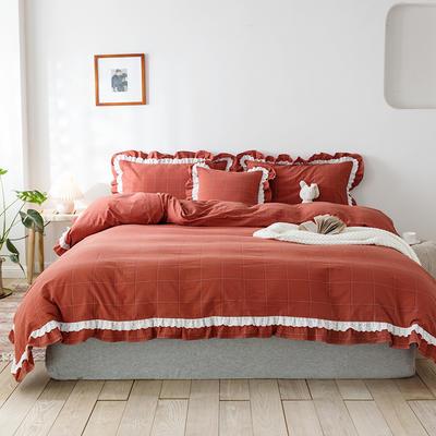 2020新款全棉色織大格水洗棉四件套 1.5m床單款四件套 色織大格 磚紅色