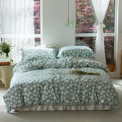 2020新款全棉雙層紗小清新四件套 1.2m床單款三件套 花朵藍