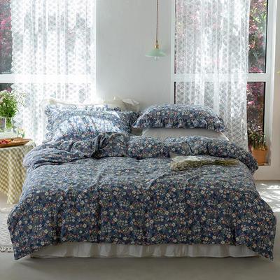 2020新款全棉雙層紗小清新四件套 1.2m床單款三件套 藍碎花