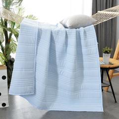 水洗棉夏凉被素色 180x220cm 蓝色