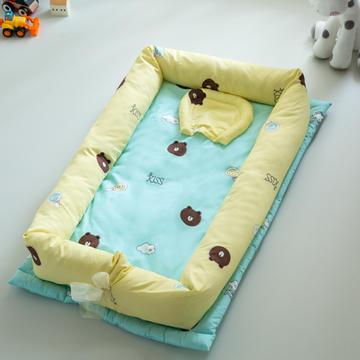 婴童用品 婴儿便携式床中床两件套及配套三件套 55x90x14cm 布朗熊