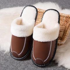2018新款-时尚防水防滑长绒毛厚底拖鞋(总) 女款39/双 男款咖