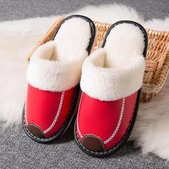 2018新款-时尚防水防滑长绒毛厚底拖鞋(总) 女款38/双 女款大红
