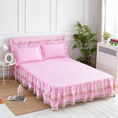 单品水洗棉韩版夹棉床头罩 1.8米宽 总高110cm 公主粉