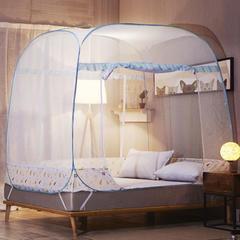 大顶免安装三开门蚊帐 1.2m(4英尺)床 简约绿(全底)