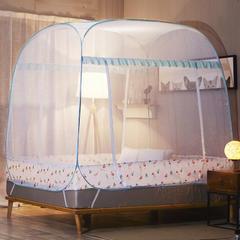 大顶免安装三开门蚊帐 1.2m(4英尺)床 花鸟世界绿(全底)