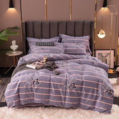 2020秋冬新款加厚生态全棉磨毛四件套 1.5m床单款四件套 花颜岁月-紫