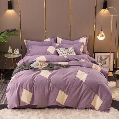 2020秋冬新款加厚生态全棉磨毛四件套 1.5m床单款四件套 清新格纹-紫