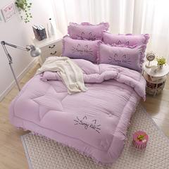 绣花韩式花边  加厚水洗棉  冬被  批发冬被芯 150X200CM 4斤 紫色