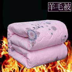 圣卓家纺 斜纹防羽布加厚 羊毛被 不钻毛无异味冬被被芯 150x200cm4斤 粉色