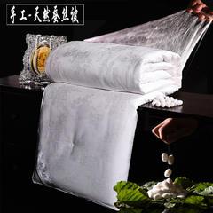 咋蚕丝 桑蚕丝全棉杜丹花冬被春秋被批发定制 蚕丝被 150x200cm4斤 白色
