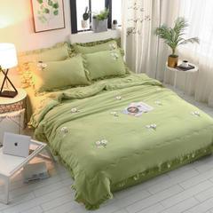 专版花型水洗棉毛巾绣绣花 夏被四件套 空调被芯 夏凉被 夏被 200X230cm夏被四件套 绿色