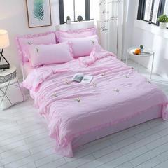 专版花型水洗棉毛巾绣绣花 夏被四件套 空调被芯 夏凉被 夏被 200X230cm夏被四件套 粉色