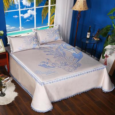 600D可水洗床单款 2.5m*2.5m 16801-丹凤朝阳-二合一床单款-蓝