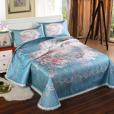 600D可水洗印花床单款 2.5m*2.5m 168011-霓裳花舞-甘蓝绿