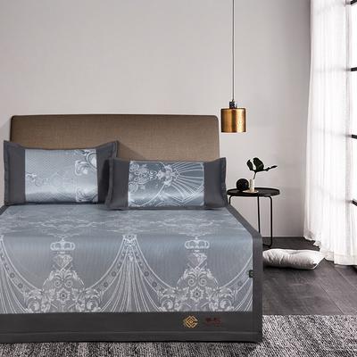 提花冰丝凉席经典款 1.5m(5英尺)床 7卡琳娜-灰色