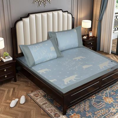 提花冰丝凉席经典款 1.5m(5英尺)床 北极乐园-蓝色