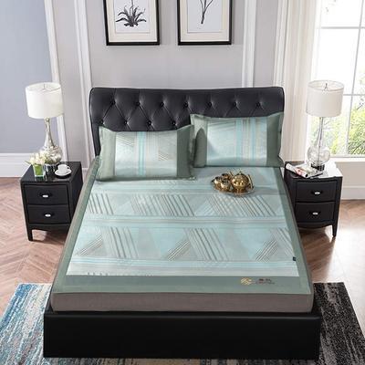 提花冰丝凉席经典款 1.5m(5英尺)床 27赛诺-绿色