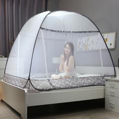 2019新品-双开门蒙古包钢丝蚊帐 1.2m(4英尺)床 莫非-灰色
