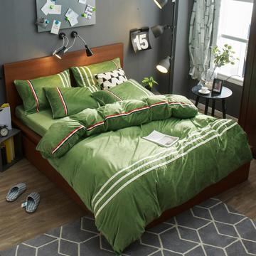 炫拼家纺运动款水晶绒四件套 加大2.0m床 墨绿色