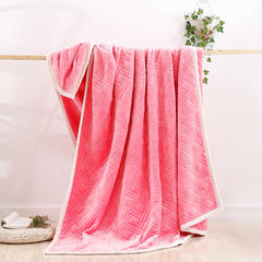炫拼家纺多功能美式法兰绒复合毛毯 150*200cm 粉红色