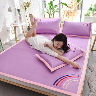 2020新款五彩刺绣凉席三件套 纯色冰丝席 软席 空调席 150*200 熏衣紫
