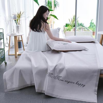 2020轻奢字母刺绣凉席三件套 纯色冰丝席 软席 空调席 150*200 典雅灰