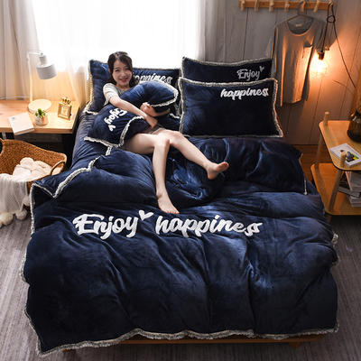 【版權專利款】網紅爆款 法萊絨四件套流蘇法蘭絨寶寶絨水晶絨保暖四件套 1.5m(5英尺)床 寶藍色