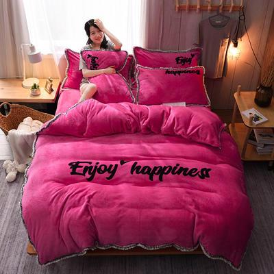 2020网红热款 法莱绒四件套流苏法兰绒宝宝绒水晶绒保暖四件套 1.8m(6英尺)床 玫红色