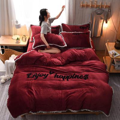 2020网红热款 法莱绒四件套流苏法兰绒宝宝绒水晶绒保暖四件套 1.8m(6英尺)床 枣红色