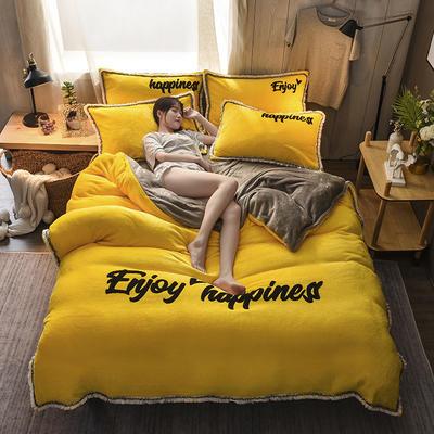 2020网红爆款 法莱绒四件套流苏法兰绒宝宝绒水晶绒保暖四件套 1.5m(5英尺)床 靓黄色