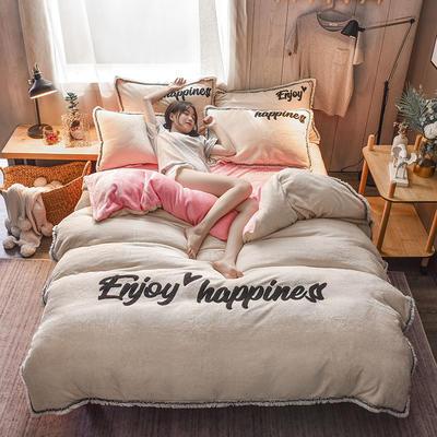 【版權專利款】網紅爆款 法萊絨四件套流蘇法蘭絨寶寶絨水晶絨保暖四件套 1.5m(5英尺)床 粉白色