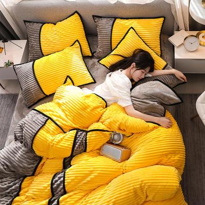 2020新款魔法绒四件套法莱绒水晶绒法兰绒保暖四件套 1.5m床单款四件套 靓黄